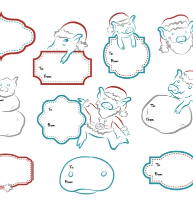 Pigxel Art Christmas Piggys Christmas Labels