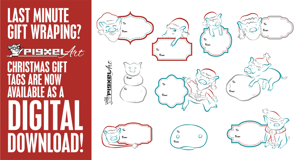 Digital Download: Pigxel Art Piggy Gift Labels