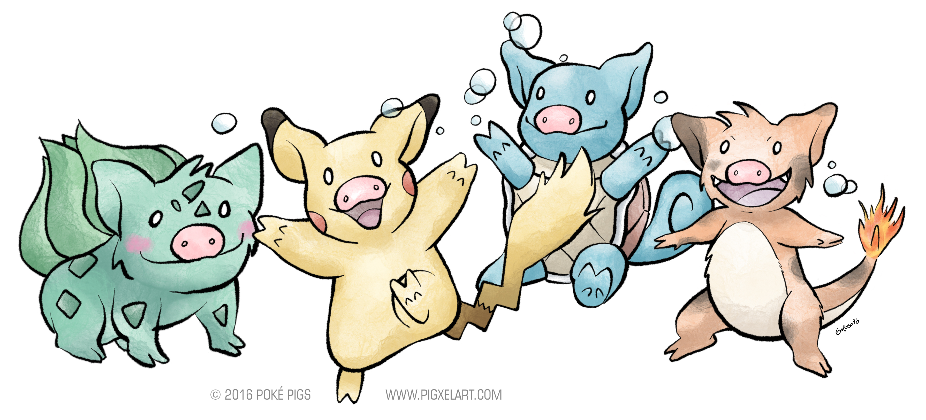 Pokemon Pigs Starters Pikachu Bulbasaur Squirtle Charmander