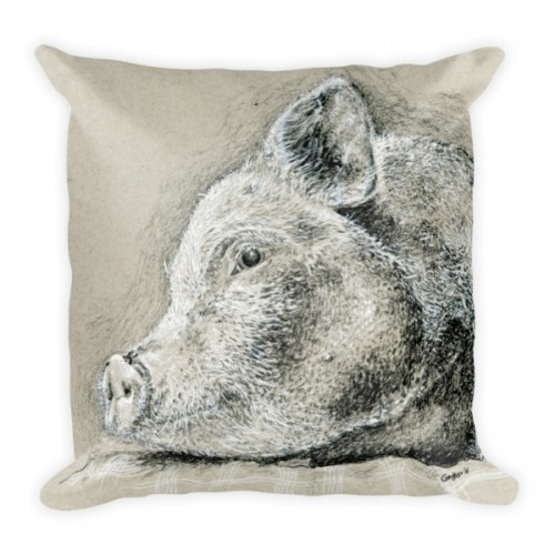 Relaxing Pig Charcoal Drawing 18″ Pillow